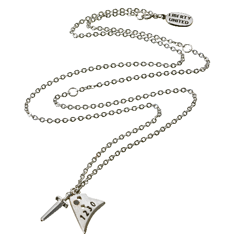 Sterling Silver and Gunmetal Sword & Plowshare Necklace