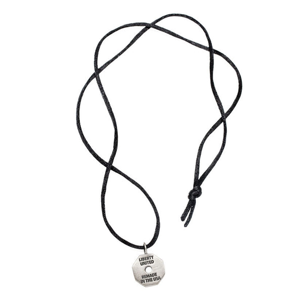 Gunmetal Octagon Tag Pendant on Black Satin Necklace