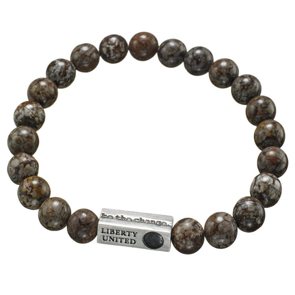 be the change. brown snowflake jasper bracelet