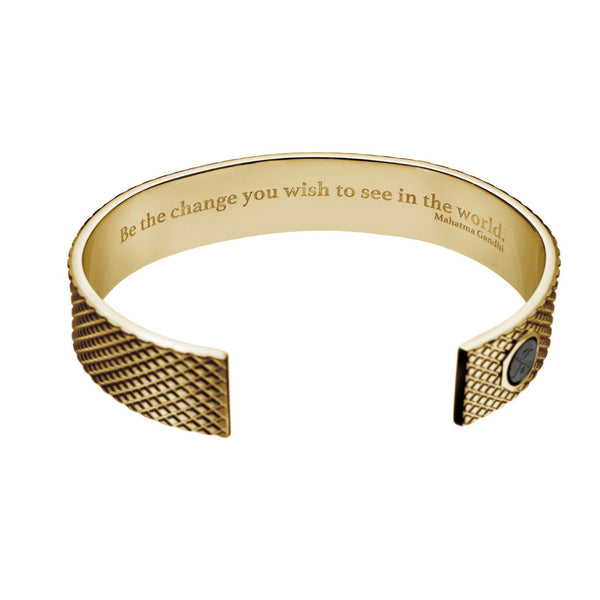 "Skinny Grip Cuff with ""Be the change..."" Gandhi Quote"