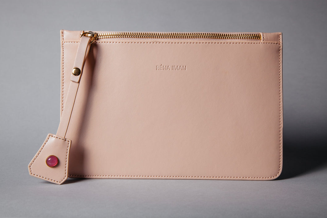Rena Iman - Laura Clutch - Blush with Pearl Gemstone - Luxor Box