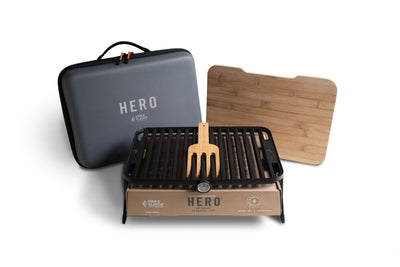 The HERO Grill System comes with everything you need to grill - no accessories needed.