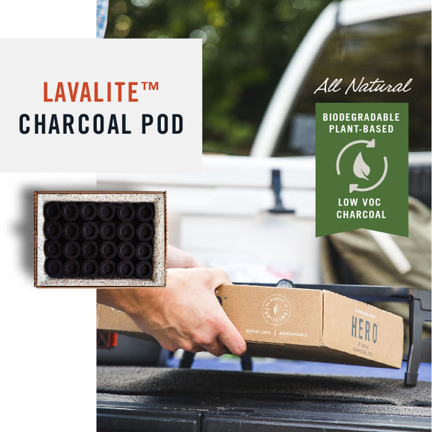 Hero Lavalite Charcoal Pods are Biodegradable, Low VOC because they are plant-based. It uses eco-friendly charcoal made from naturally regenerative bamboo charcoal.