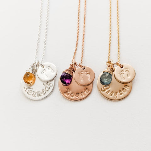 New Mom Charm Necklace with Baby feet pendant, name and birthstone