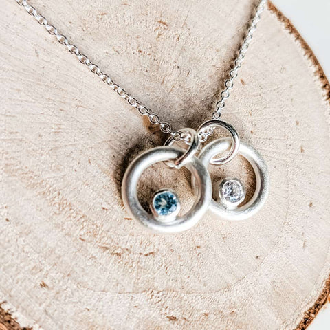 Silver birthstone ring necklace