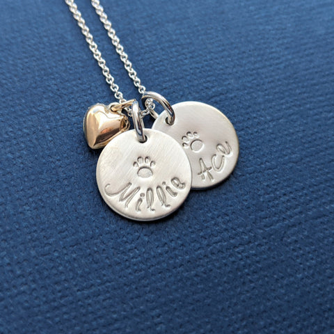 Pet Animal Lover Gift, Dog Cat Mom Necklace with Names and heart