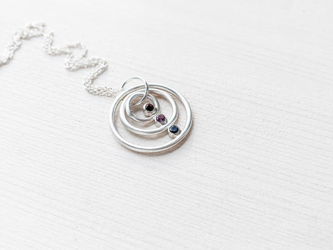Silver multi sized birthstone ring pendant necklace