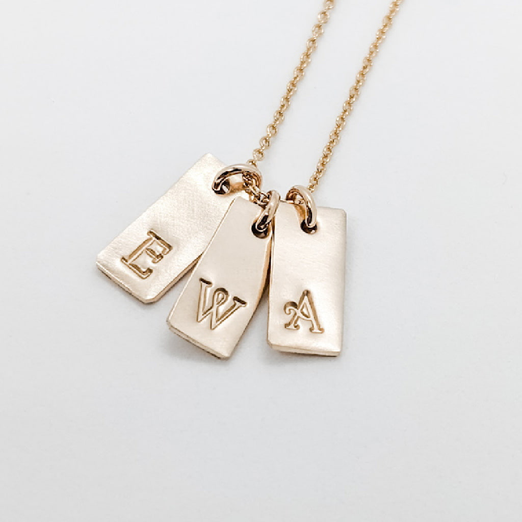 Gold Tiny Initial Charm Necklace