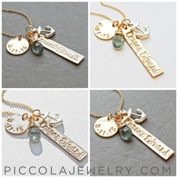 Baby name anchor charm necklace