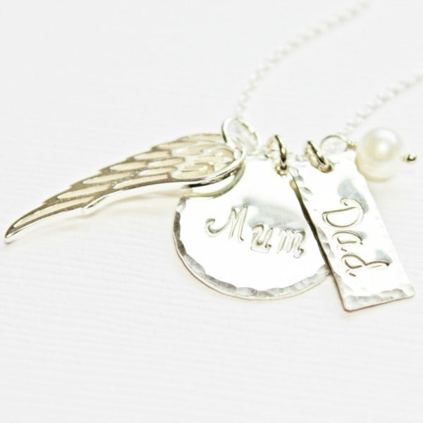Remembrance Charm Necklace with Angel Wing