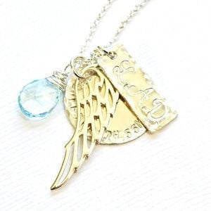 Silver Angel Wing Charm Necklace with Initials