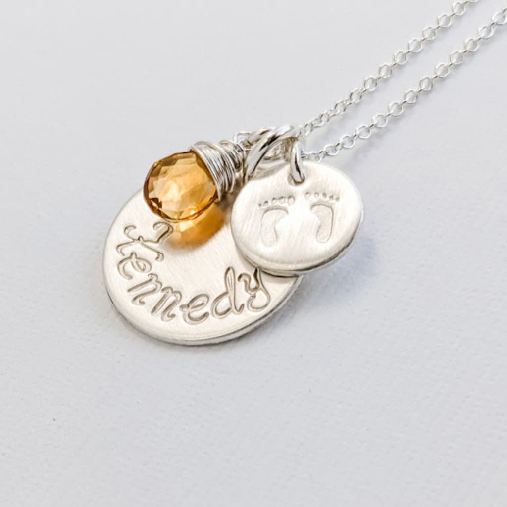 Baby Name Necklace with Footprints and Birthstone Charms