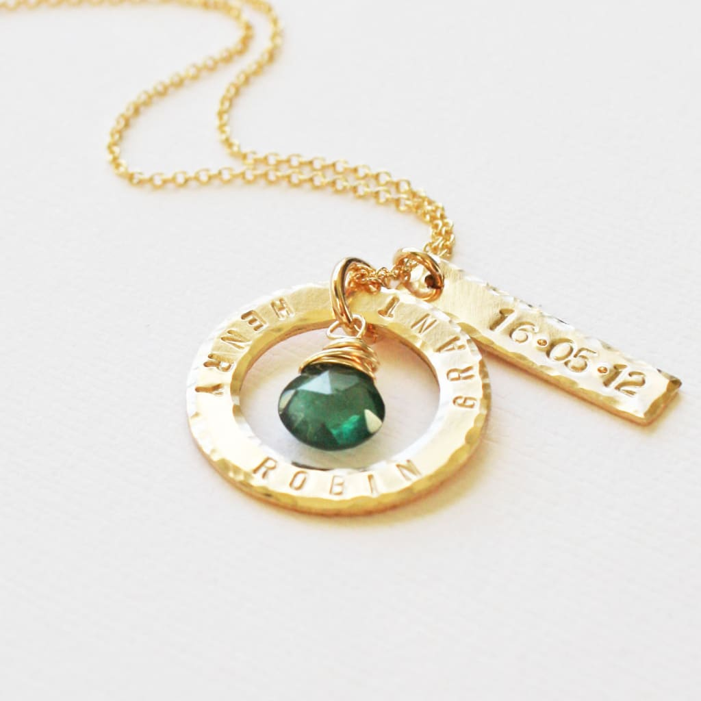 Gold Baby Name and Birthdate Necklace