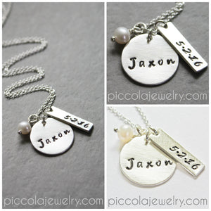Piccola Jewelry - Baby Name and Birthdate Necklace