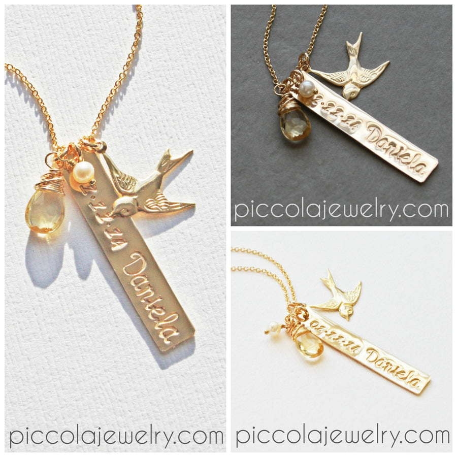 Gold Push Present Mothers Neckalce with Baby Details