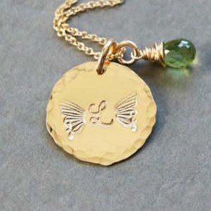 Butterfly Initial and Birthstone Necklace