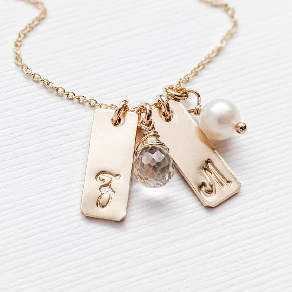 Tiny Rectangle Charm Necklace with Baby or 1 2 3 4 kids Initials and Birthstones