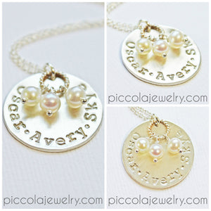 Silver Mommy necklaces with Pearls and names/initials