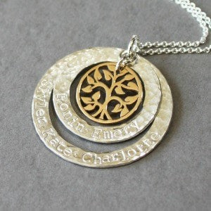 Family Tree of Life Necklace with Double Rings