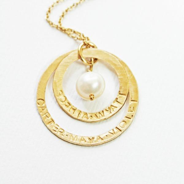 Gold Grandmother Necklace with 1 2 3 4 5 6 7 8 9 names