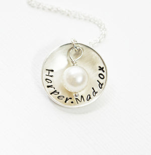 Domed Silver Mother's Necklace with Pearl