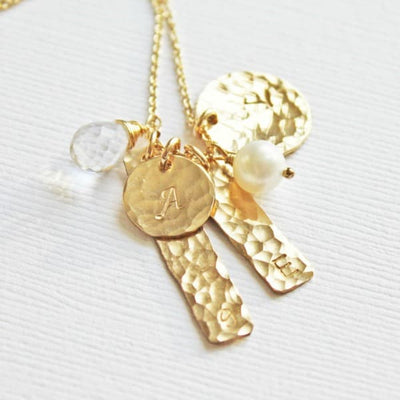 Gold Family Initials Charm Necklace