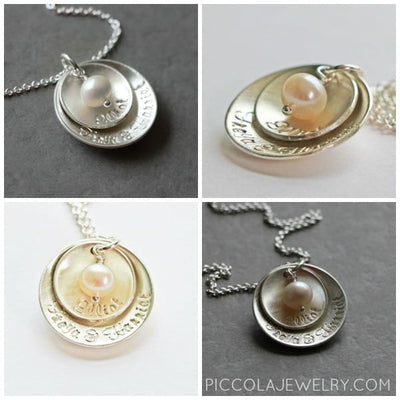 Family Nesting Pendant with Pearl or Birthstones