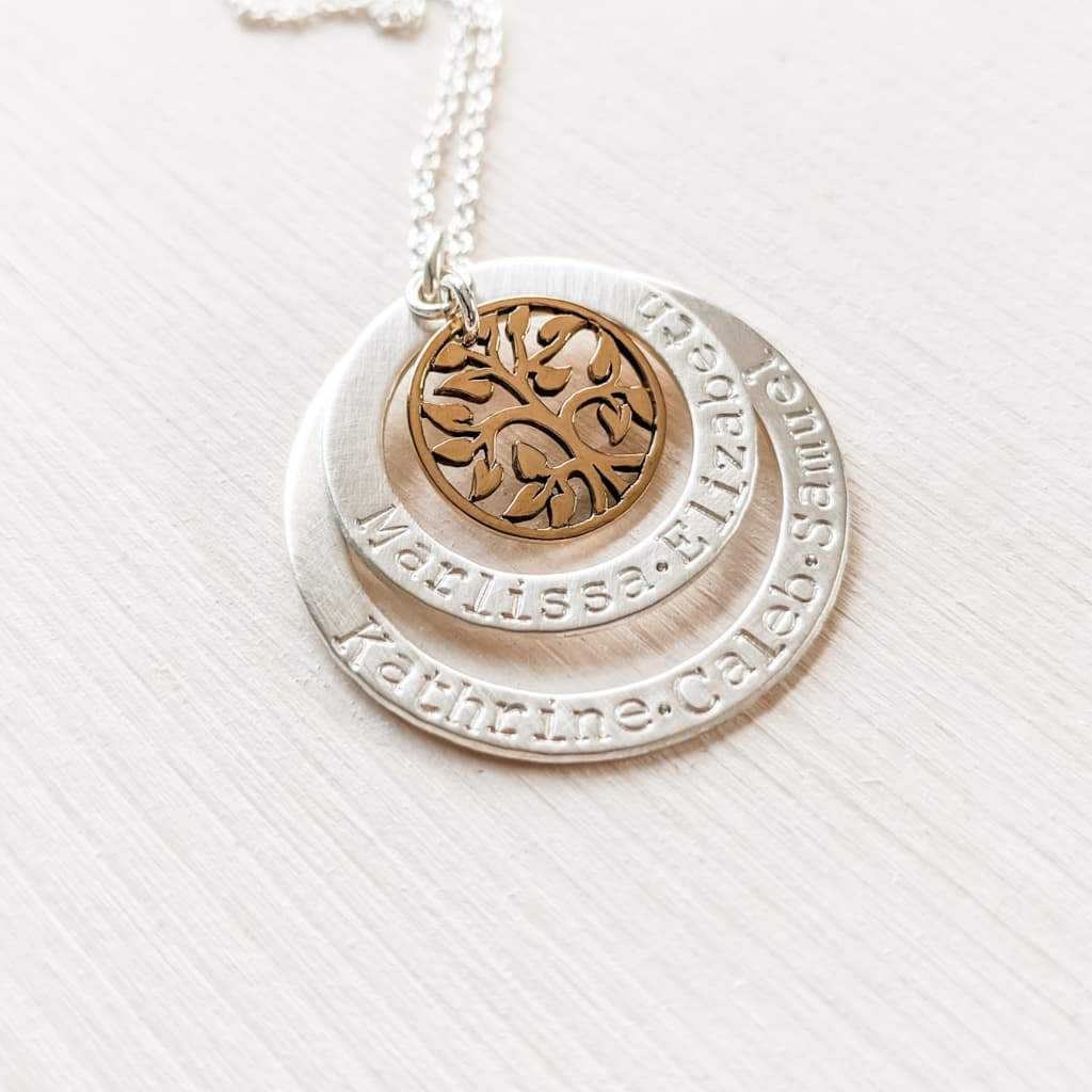 Tree of Life Family Necklace for Grandmother with Grandkids Names