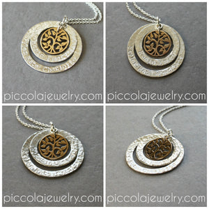 Two Ring Washer Tree of Life Pendant