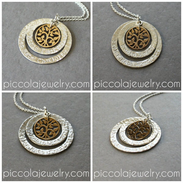 Personalized Two Tone Tree Of Life Silver And Gold Two