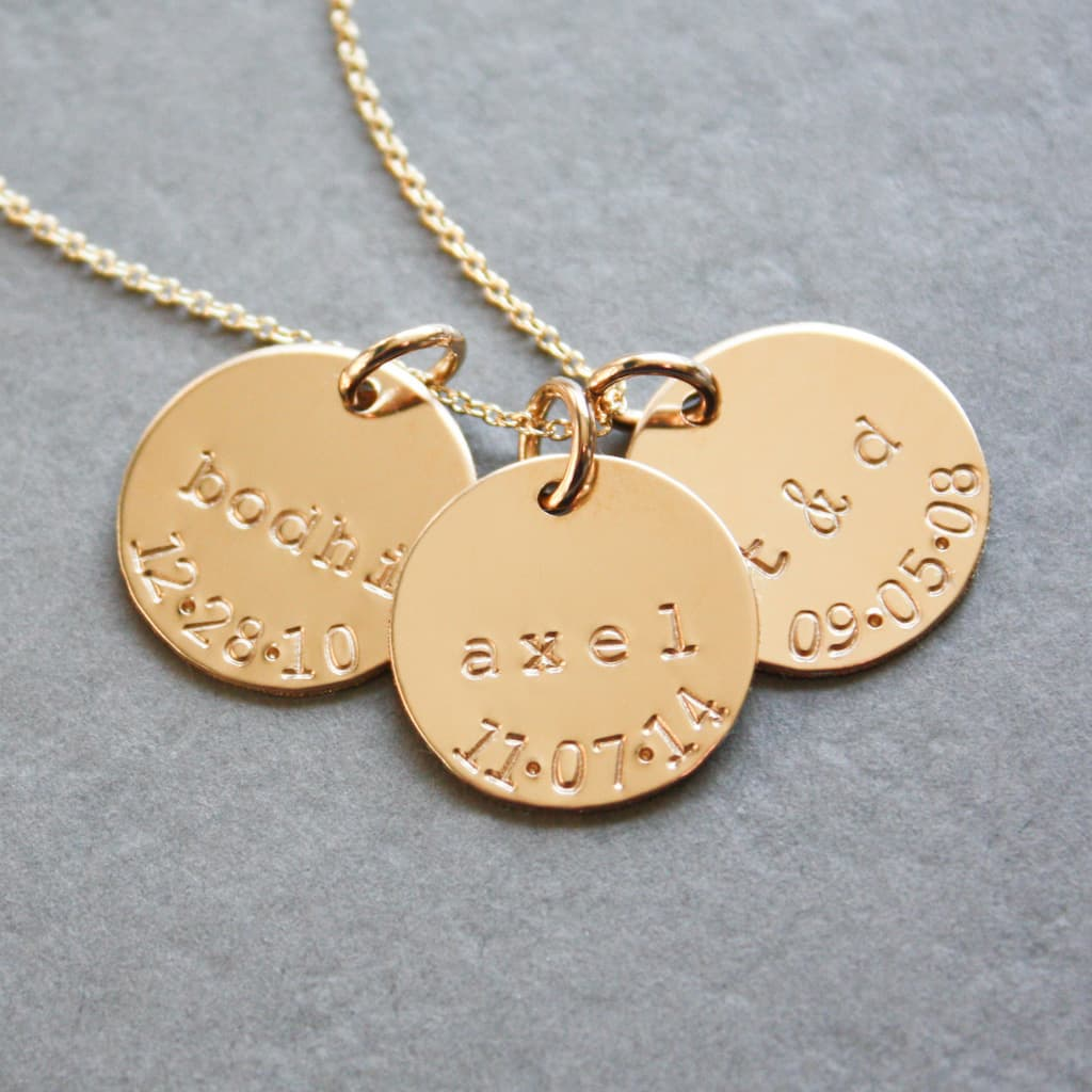 Gold Disc Mother's Necklace with Name and Birthdate