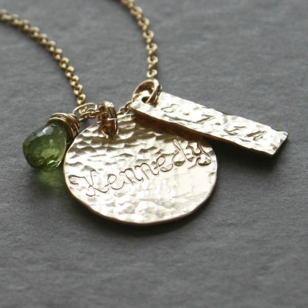 Hammered Gold Disc and Birthstone Necklace