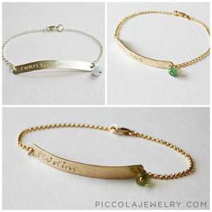 Gold Mother bracelet with birthstone and baby name