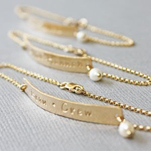 Gold Bridesmaid Skinny Bar Bracelets