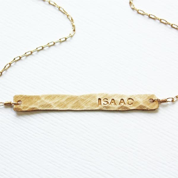 Skinny Horizontal Bar Necklace with Name