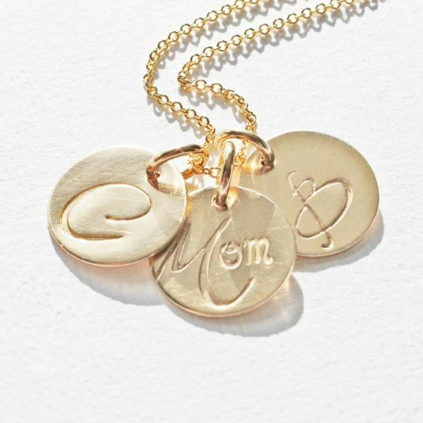 Gold Mom Necklace with Initials