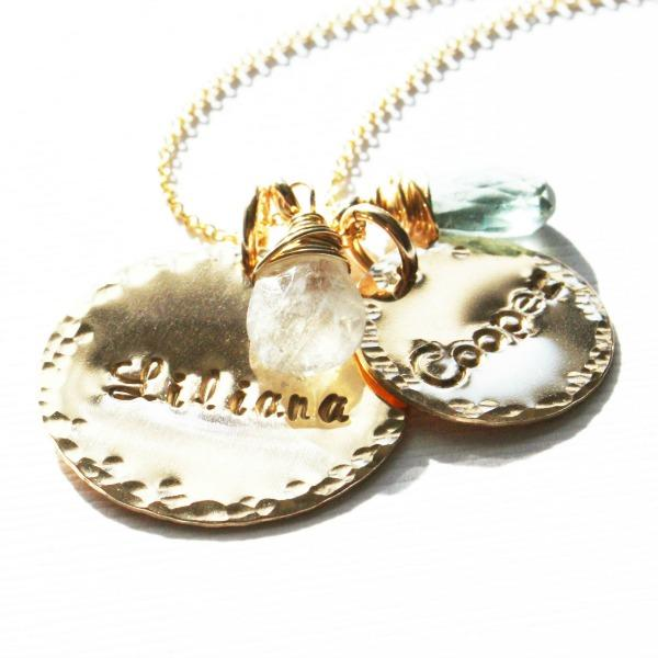 Gold Disc and Name Necklace