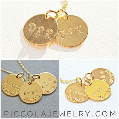 Simple Gold Disc Mother's Necklace
