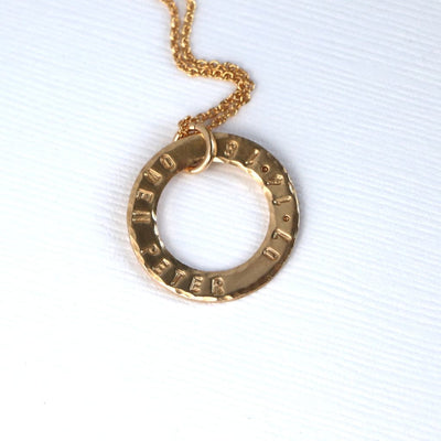 Gold Ring Family Washer Pendant