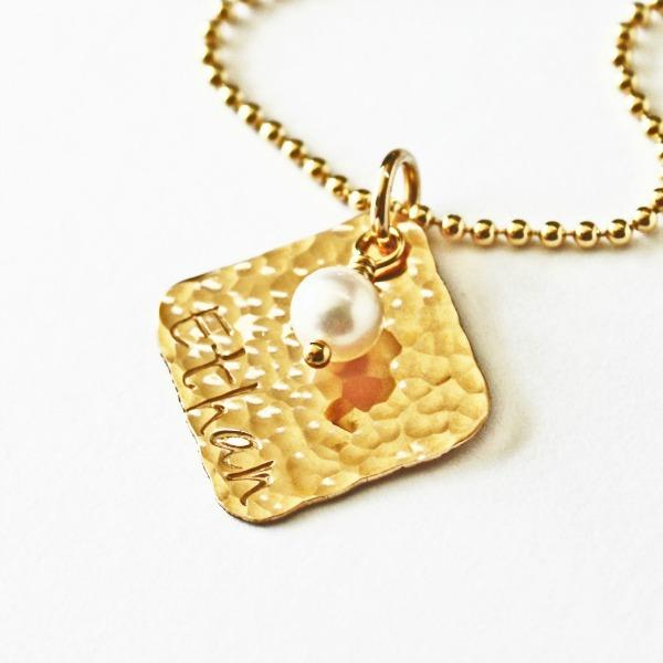 Gold Square Name Necklaces for Moms