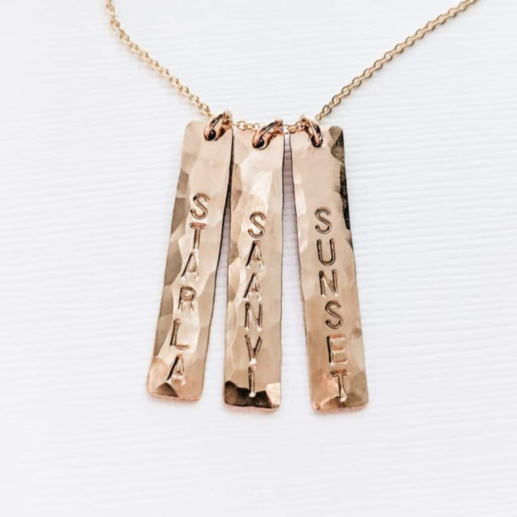 Modern Personalized Mom Necklace with Kids Names - Vertical Gold Bar Necklace