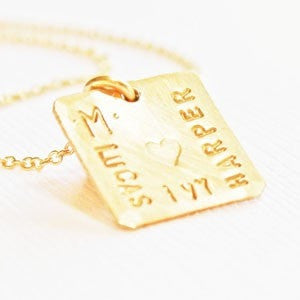 Tiny Gold Square Pendant with Names