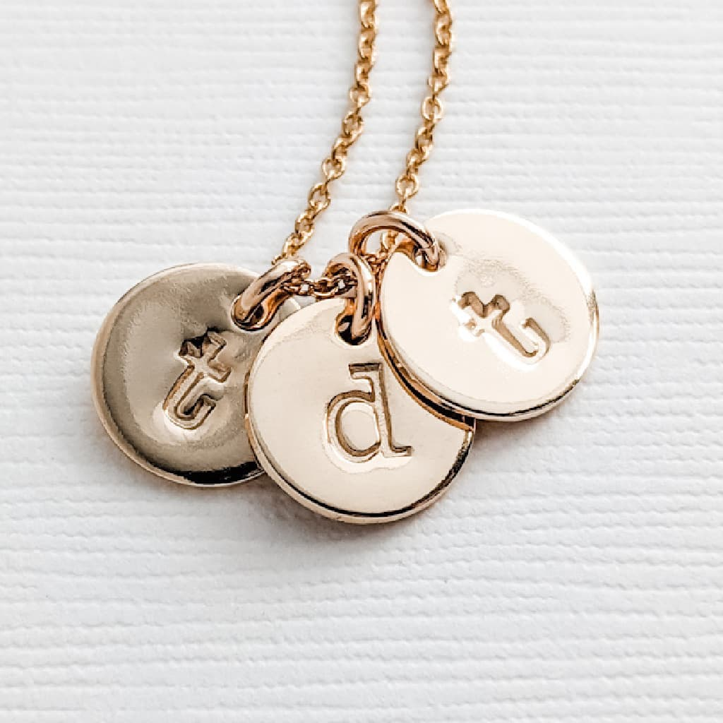 Tiny Gold Letter Pendant Necklace for Mom with Kids Initials