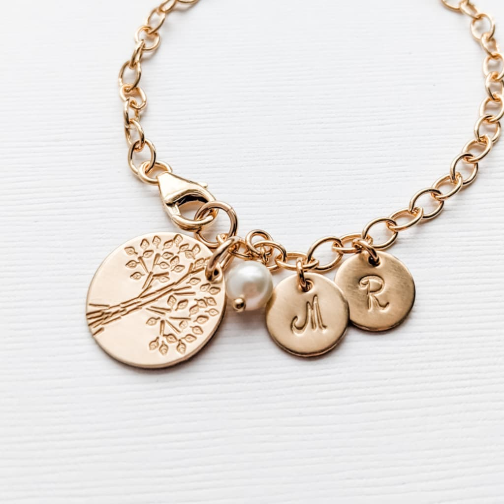 Gold Mother Tree of Life Charm Bracelet with Kids Grandkids Initials and Pearl