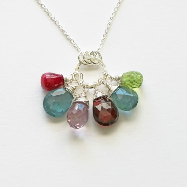 Mother's Necklace with 5 6 7 8 9 10 Birthstones