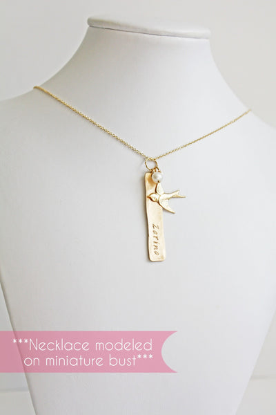 Personalized Vertical Gold Bar Charm with Baby Name Bird and Pearl Necklace