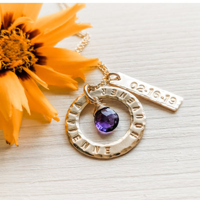 Personalized Mother's Gift with Baby Name Birth date and Birthstone