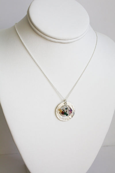 Silver Grandmother Washer Ring Pendant with Birthstones - Grandmother is Love