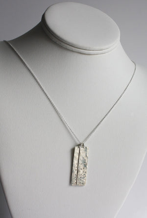 Silver Vertical Bar with Name and Birthdate Necklace