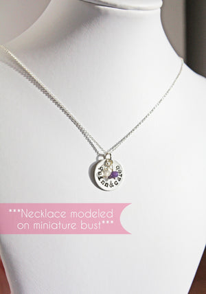 Personalized Silver Disc Pendant with Two Names and Birthstones